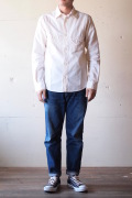WORKERS Cigaret Pocket Work Shirt White Chambray-1