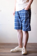 WORKERS EZ Shorts Cotton×Linen Indigo Check-1