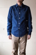 WORKERS INdigo Discharge Shirt, Star Dot-1
