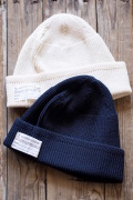 WORKERS Law Gauge Cotton Knit Cap Navy・White-1
