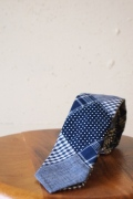WORKERS K&TH Hand Tailored Tie, Indigo Patchwork-1