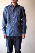 WORKERS Widespread Collar Shirt Blue Chambray-1