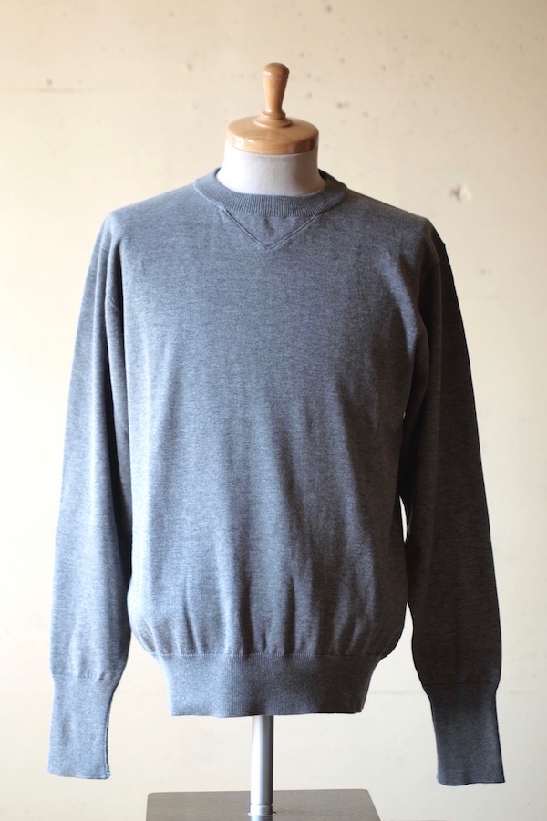 WORKERS 14Gauge Cotton Knit Sweater Heather Grey-1