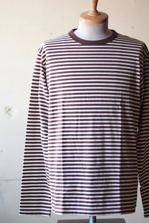 WORKERS 6oz Border Tee Long Sleeve Ecru×Brown-1