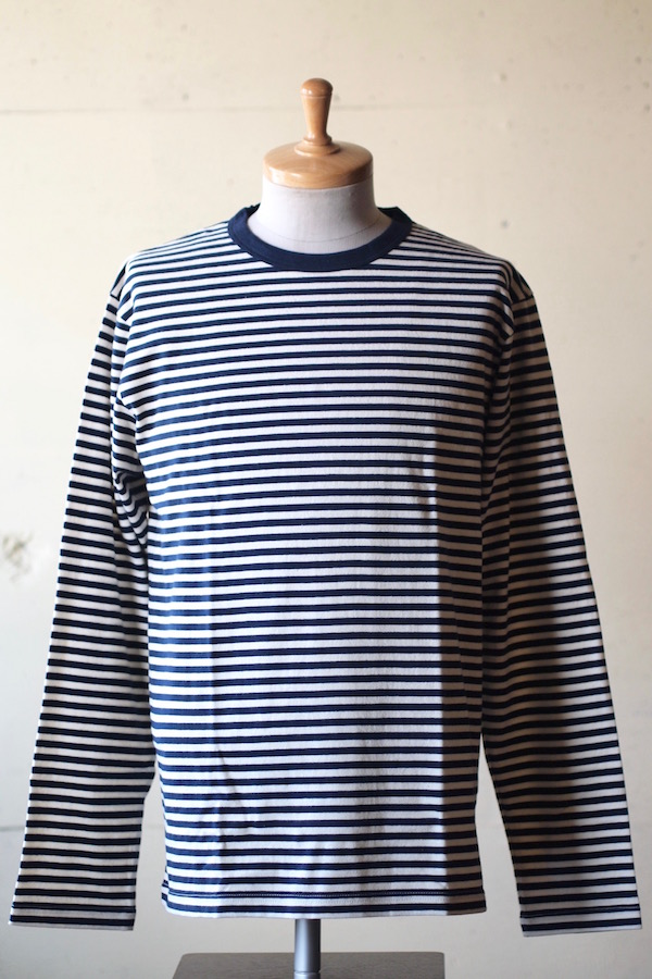 WORKERS 6oz Border Tee Long Sleeve Ecru×Navy-1