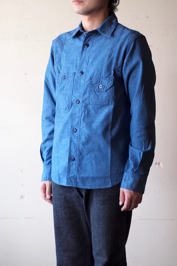 WORKERS Cigaret Pocket Work Shirt Beta Chambray-1