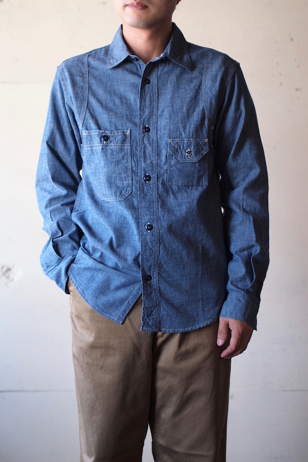 WORKERS Cigaret Pocket Work Shirt Blue Chambray-1