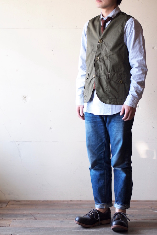 WORKERS Cruiser Vest Cotton×Linen Twill Olive-1