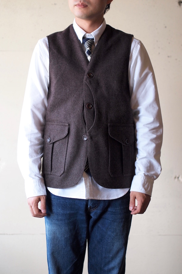 WORKERS Cruiser Vest 12oz Wool Melton Brown-1