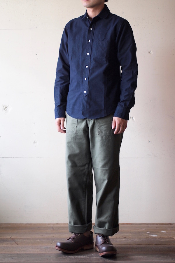 WORKERS Narrow Round Collar Shirt D-OX Navy-1