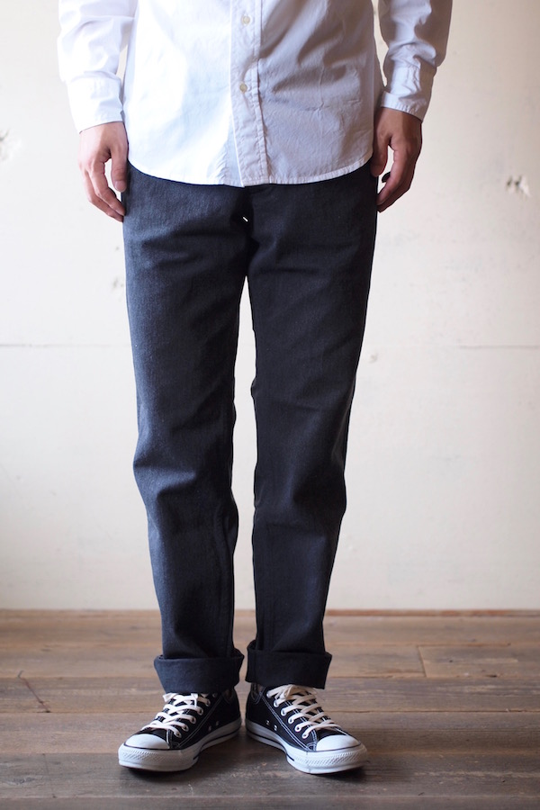 Workers Officer Trousers Slim Type2 Cotton Serge Grey-1
