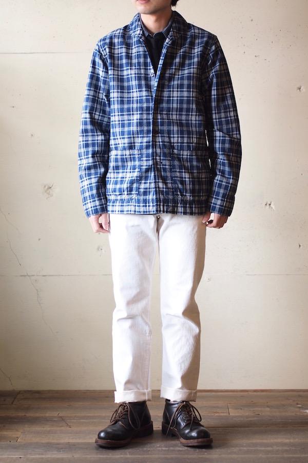 WORKERS Shawl Collar JKT Cotton Linen Indigo Check-1