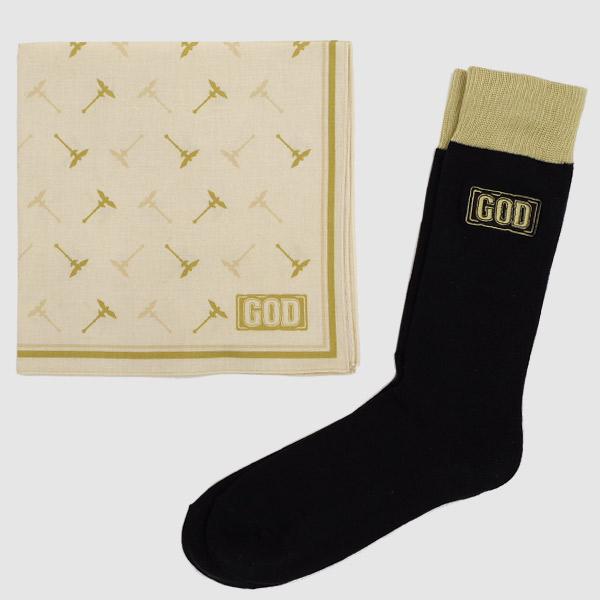 【2月下旬より発送】【ハンカチ&ビジネス靴下セット】GOD