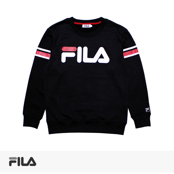 FILA LINE PRINT SWEAT | BLACK / フィラ スウェット