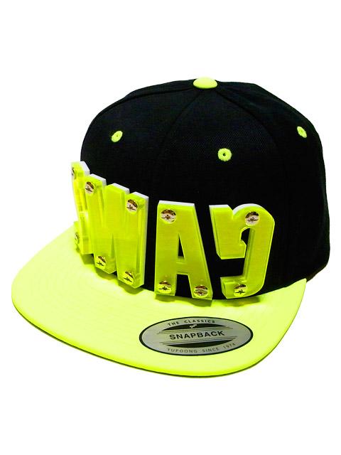 "DROPOU2 ""SWAG"" ACRYL FONT SNAPBACK CAP   BLACK×NEON YELLOW / ドロップアウツ"