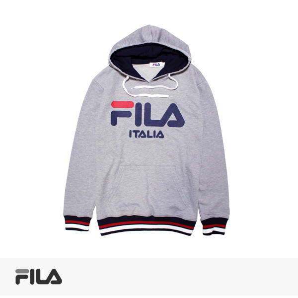 2017 SPRING FILA LINE RIB PULLOVER HOODIE | GREY / フィラ パーカー