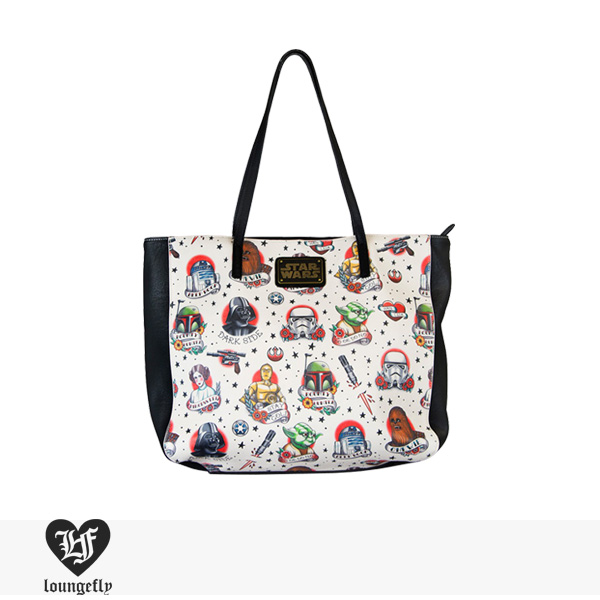 LOUNGEFLY × STAR WARS TATTOO FLASH PRINT FAUX LEATHER TOTE BAG / ラウンジフライ バッグ