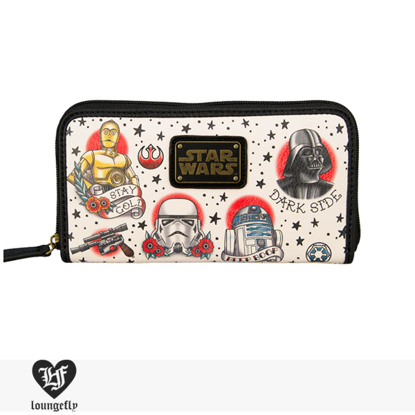 LOUNGEFLY × STAR WARS TATTOO FLASH PRINT FAUX LEATHER WALLET / ラウンジフライ ウォレット