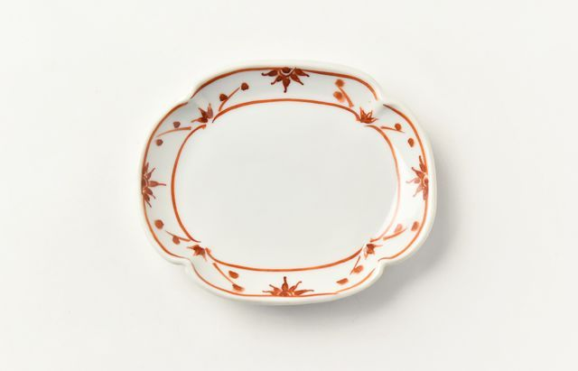 ほたる窯 赤絵モッコ小皿