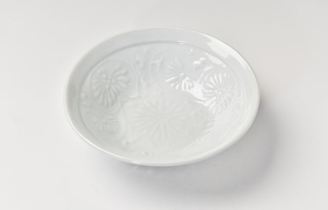 海野裕 白磁陽刻取鉢