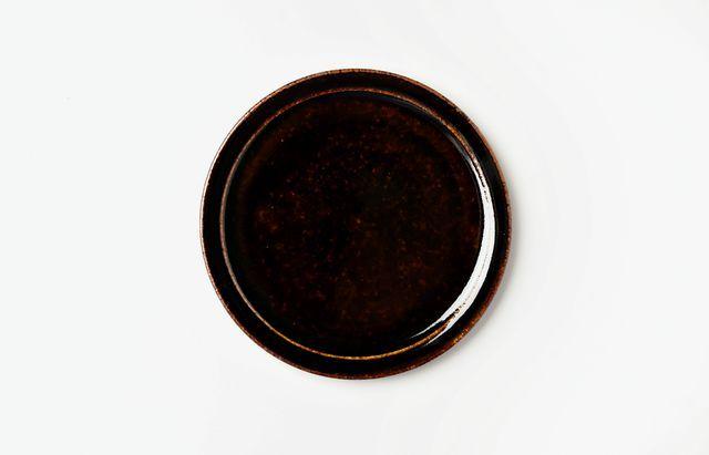 杉本寿樹 艶黒縁付5寸皿【Y】