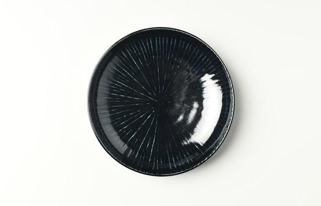 阿部春弥 ルリ陽刻線5.5寸皿(予約品)