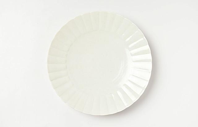 阿部春弥 白磁ひまわり6.5寸皿