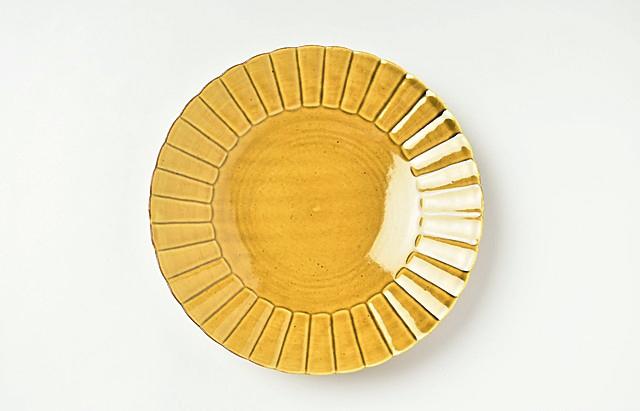 阿部春弥 黄磁ひまわり6.5寸皿