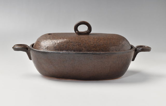 耐熱 楕円鍋(大)茶