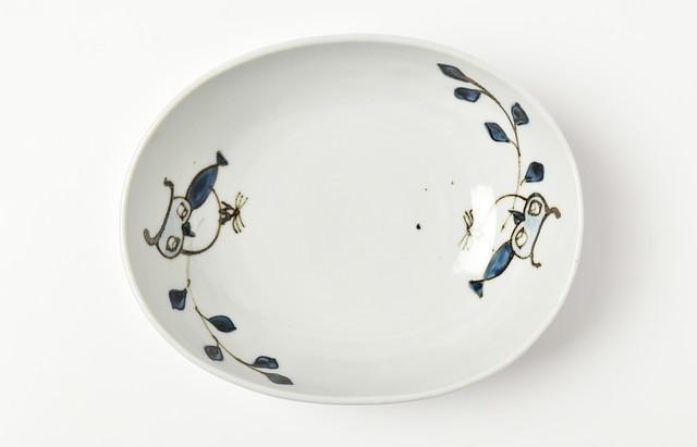 楕円鉢(大)フクロウ