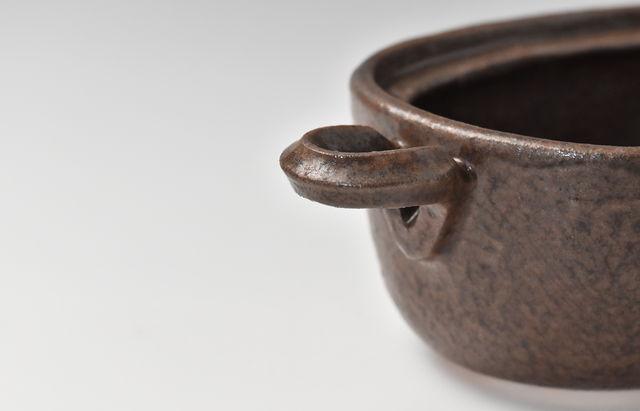 小川佳子 耐熱 楕円鍋(小)茶(予約品)