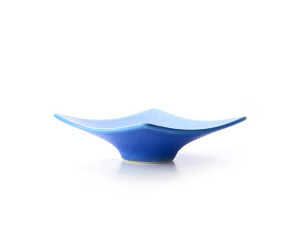 和食器 ブルー四角豆皿 作家「東一仁」