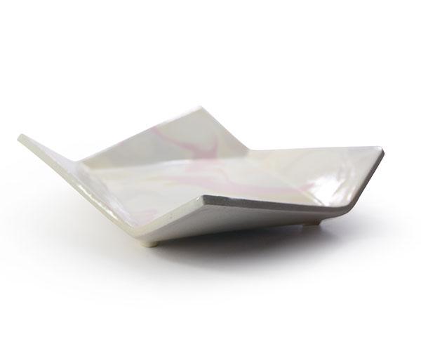 彩墨流折り皿-L-(Pink) 作家「瀬津純司」