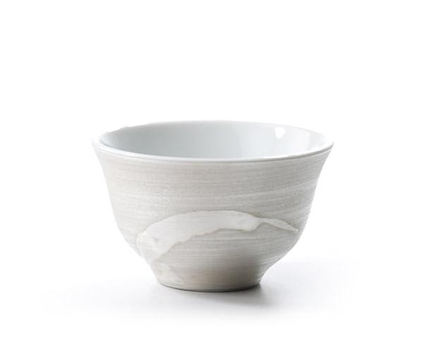 白磁銀彩煎茶碗 作家「木下和美」
