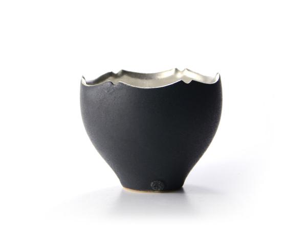 和食器 黒釉銀彩輪花小湯呑 作家「木下和美」