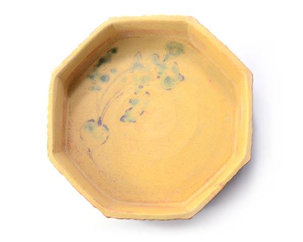 柚子手黄瀬戸八角鉢(共箱付)    作家「瀬津義雄」