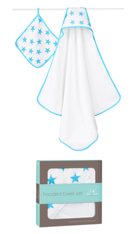 【エイデン+アネイ】fluro blueフーデッドタオル&ウォッシュクロスセット