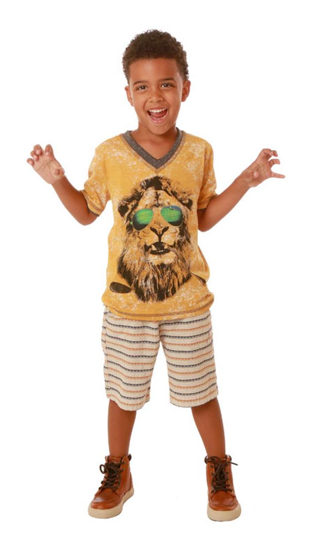 【フォア】VネックTシャツ(ライオン)2~5歳
