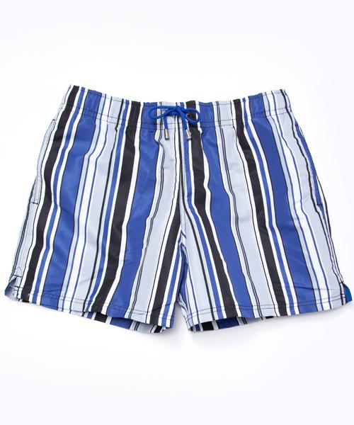 【キウィ】メンズスイムショーツ ストライプ(ブルー×グレー×ホワイト)