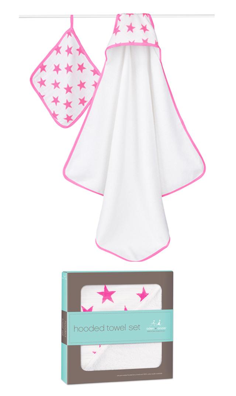 【エイデン+アネイ】fluro pink フーデッドタオル&ウォッシュクロスセット