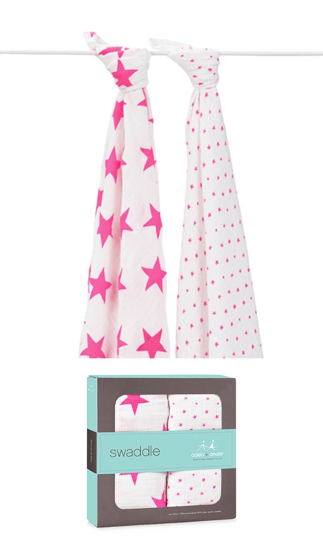 【エイデン+アネイ】fluro pink モスリンラップ2枚組
