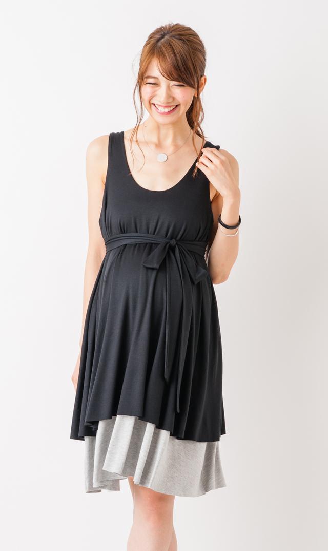 【コットングラム】カラーブロックリボンドレス(ブラック×グレー)