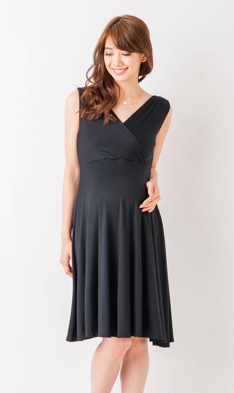 【コットングラム】クロスオーバーギャザードレス(ブラック)