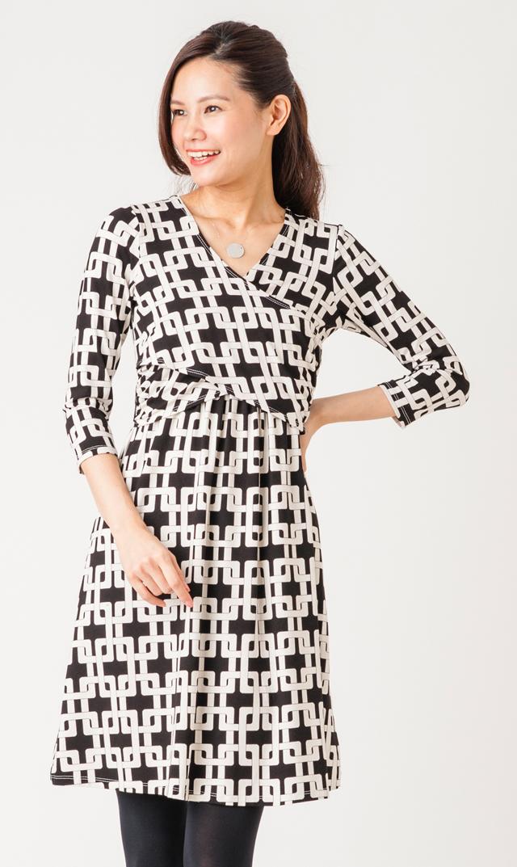 【ドーテ】リジーナーシングドレス(ブラック×べージュ)