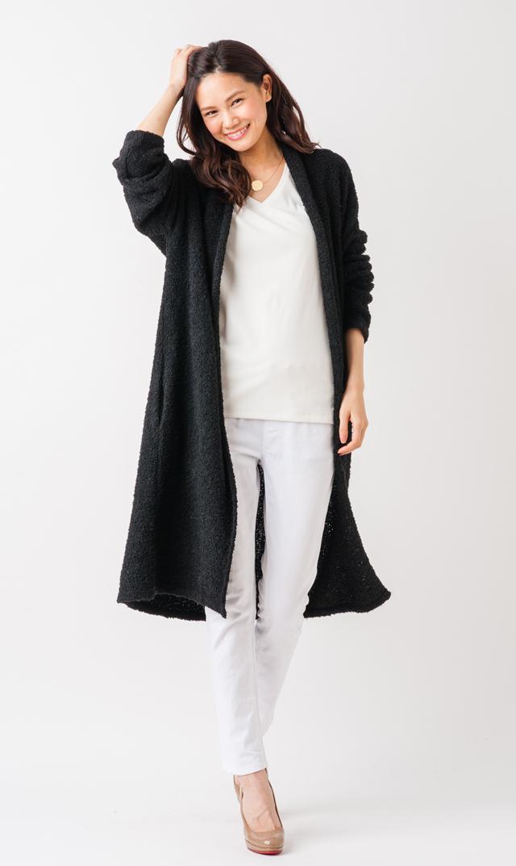 [28H限定セール]【ナインファッション(9fashion)】ブークレロングカーディガン(ブラック)/FREE