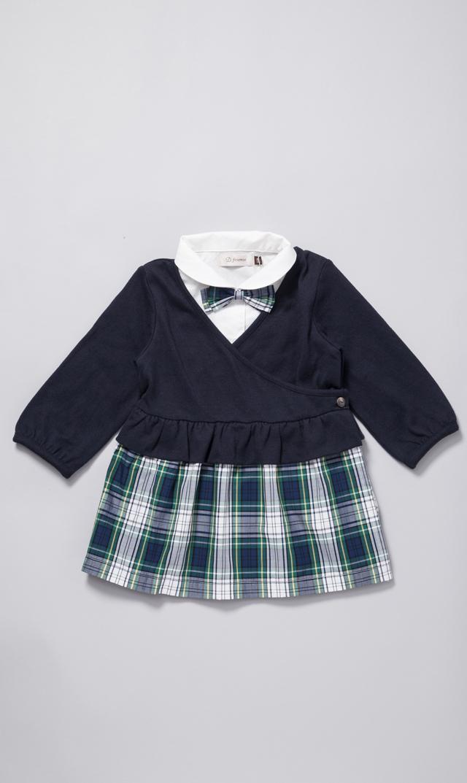【D.fesense(ディーフェセンス)】チェックレイヤード風ドレス(ネイビー)