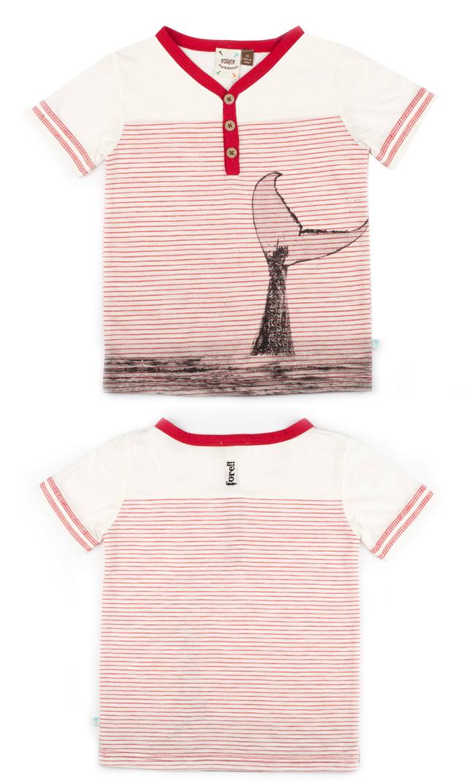 【フォア】ボタンTシャツ(ホエール)2~5歳
