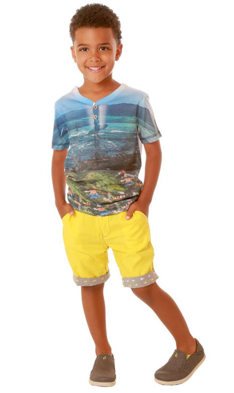 【フォア】ボタンTシャツ(ビーチ)2~5歳