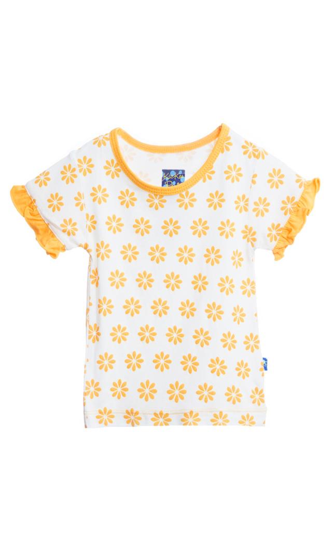 【キッキー パンツ】ラッフルティーシャツ(サンフラワー)/0-3ヵ月