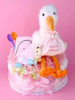 【こうのとりさんのおむつケーキ】ダイパーケーキ1段 (こうのとり ピンク)